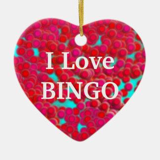 Bingo Chips on Heart Shaped Ornament