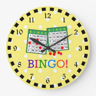 Bingo! Green and White Bingo Cards on Yellow Large Clock