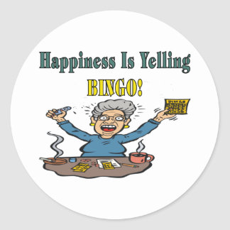 Bingo: Happiness Is Classic Round Sticker