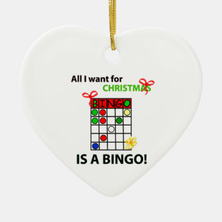 BINGO I want a bingo  for Christmas Ceramic Heart Decoration