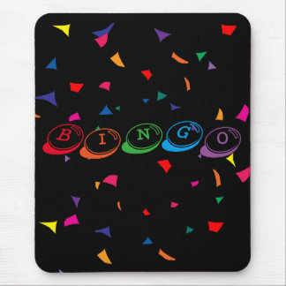 BINGO in Colorful Lettering on Black Mouse Pad