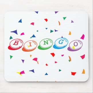 BINGO in Colorful Lettering on White Mouse Mat