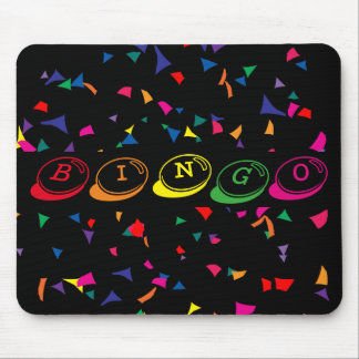 BINGO in Colorful Lettering with Confetti on Black Mouse Mat