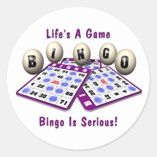 Bingo: Life's A Game Classic Round Sticker