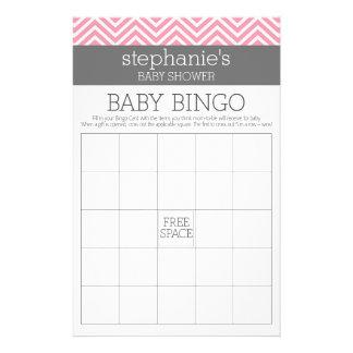 Bingo Pastel Pink Chevrons Baby Shower Game Flyers