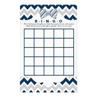 Bingo purse baby shower games, navy gray bow tie 14 cm x 21.5 cm flyer