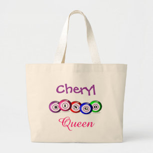Bingo Queen Fun Bingo Balls Design Large Tote Bag