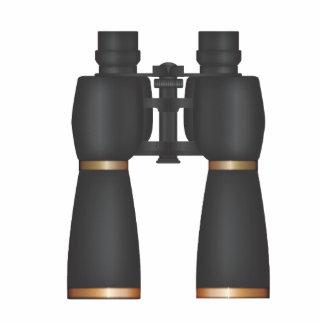 Binoculars Brass Standing Photo Sculpture