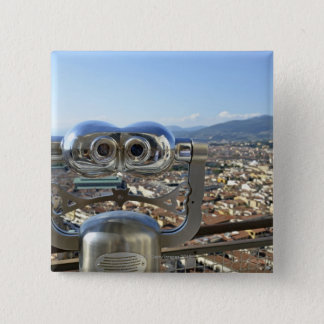 Binoculars overlooking Florence cityscape, top 15 Cm Square Badge