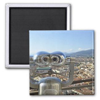Binoculars overlooking Florence cityscape, top Magnet