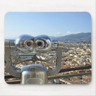 Binoculars overlooking Florence cityscape, top Mouse Pad