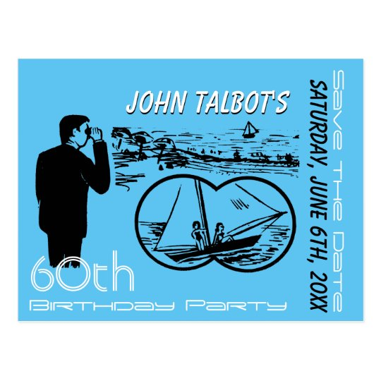 Binoculars Sailboat 60th Birthday Save The Date Postcard