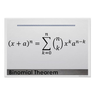 Binomial Theorem Formula Math Poster
