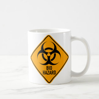 Bio Hazard Biohazard Yellow Diamond Warning Sign Basic White Mug