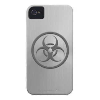 Bio Hazard Circle with Stainless Steel Effect iPhone 4 Covers