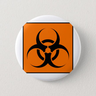 Bio Hazard or Biohazard Sign Symbol Warning Orange 6 Cm Round Badge