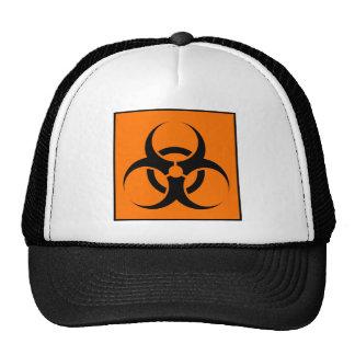 Bio Hazard or Biohazard Sign Symbol Warning Orange Trucker Hats