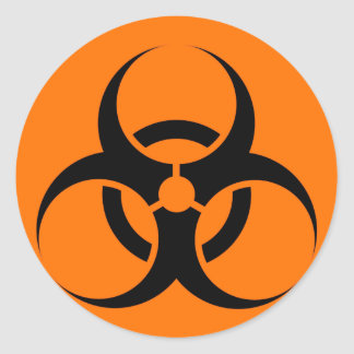 Bio Hazard or Biohazard Sign Symbol Warning Orange Round Sticker