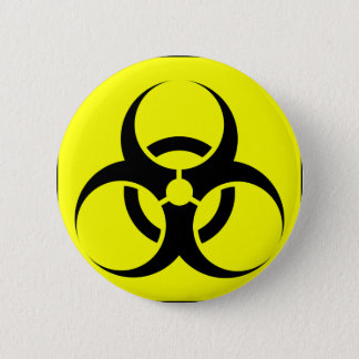 Bio Hazard or Biohazard Sign Symbol Warning Yellow 6 Cm Round Badge
