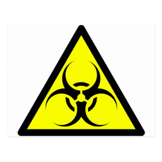 Bio Hazard or Biohazard Sign Symbol Warning Yellow Postcard