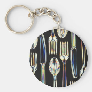 Biodegradable Utensils Basic Round Button Key Ring