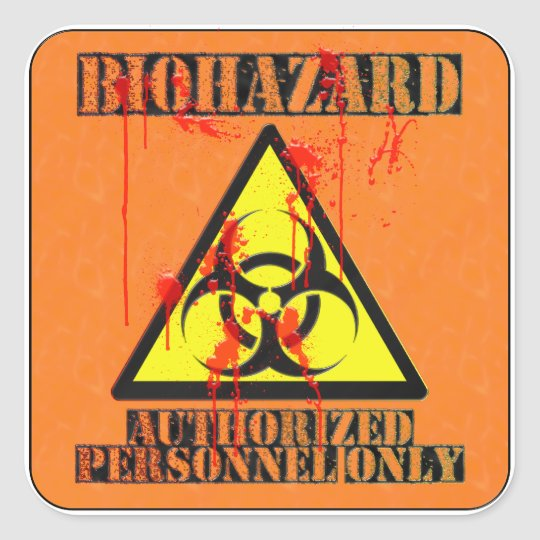 Biohazard authorised personnel only square sticker