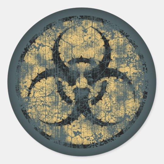 Biohazard -Circle -dist Round Sticker