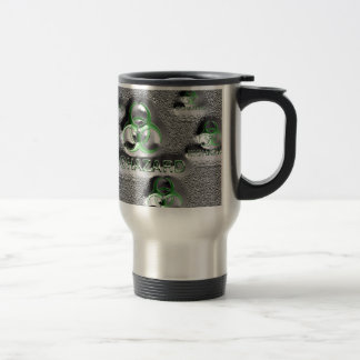 biohazard fallout contamination sign toxic green travel mug