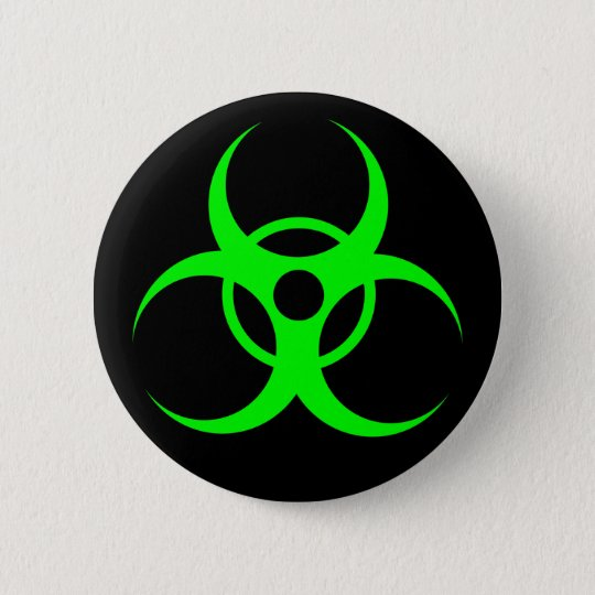 Biohazard Green on Black Button