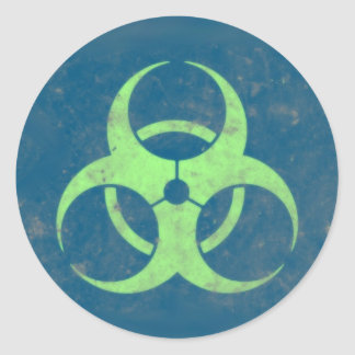 Biohazard Lime Green Blue Background Classic Round Sticker