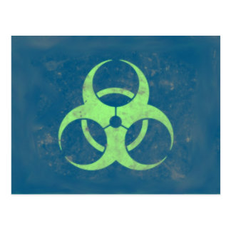 Biohazard Lime Green Blue Background Postcard