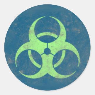 Biohazard Lime Green Blue Background Round Sticker