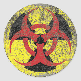 Biohazard Radiation Warning Round Sticker
