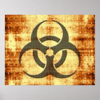 Biohazard symbol grunge effect poster
