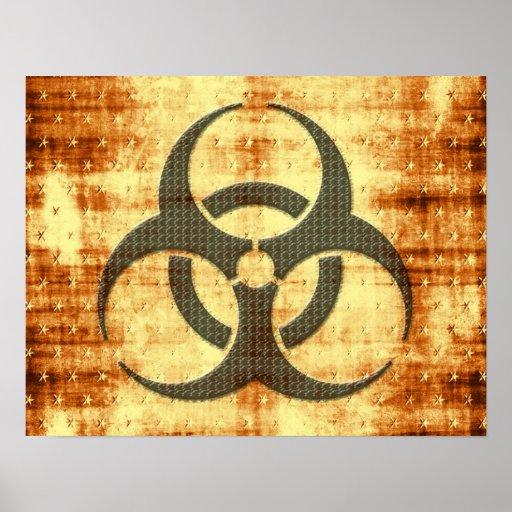 Biohazard symbol grunge effect posters