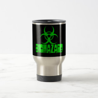 Biohazard symbol on green coffee mug