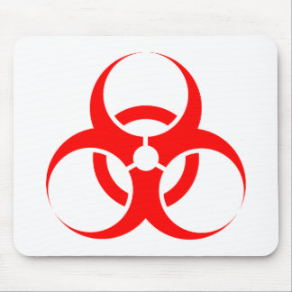 Biohazard symbol red mouse pad