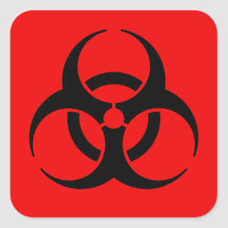 Biohazard Symbol Square Sticker