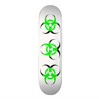 Biohazard Symbol Zombie Green and Black on white Custom Skateboard