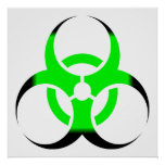 Biohazard Symbol Zombie Green and Black Poster