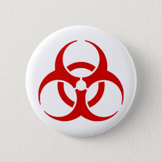biohazard ! warning danger 6 cm round badge