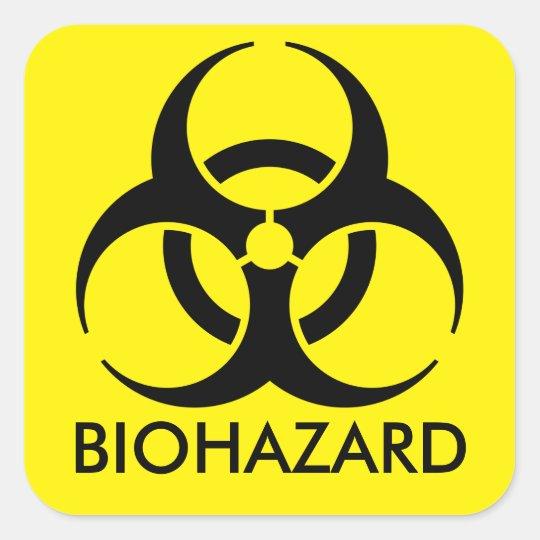 Biohazard Warning Square Sticker
