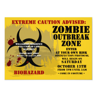 Biohazard Zombie Party Invitations