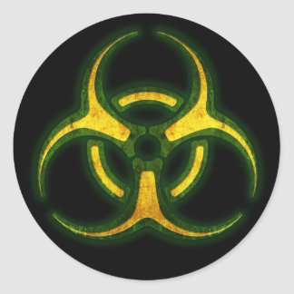 Biohazard Zombie Warning Classic Round Sticker