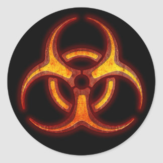 Biohazard Zombie Warning Round Sticker