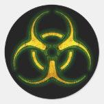 Biohazard Zombie Warning Round Stickers