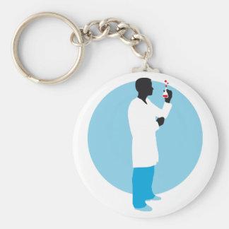 biologist, chemist basic round button key ring
