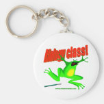 Biology class frog basic round button key ring