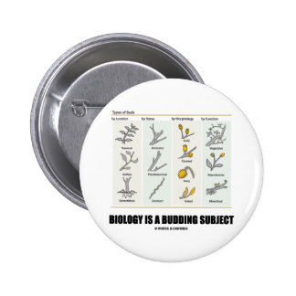 Biology Is A Budding Subject (Types Of Buds) 6 Cm Round Badge