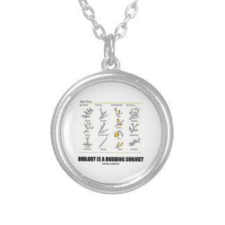 Biology Is A Budding Subject (Types Of Buds) Round Pendant Necklace